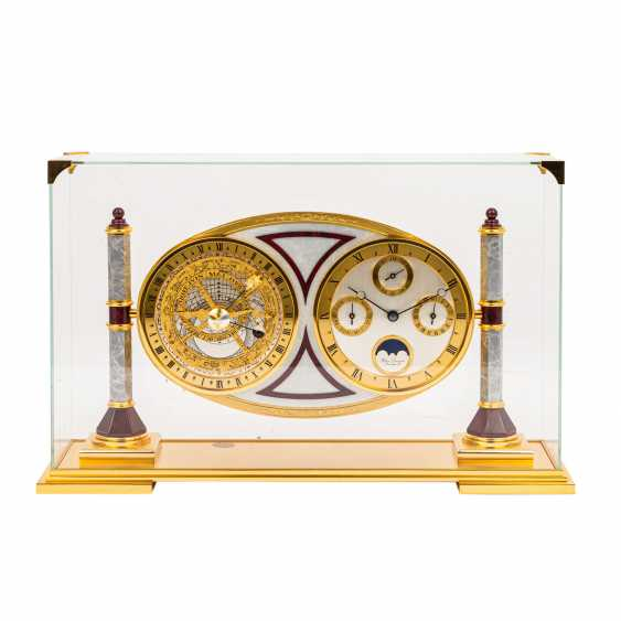 HOUR LAVIGNE REFINED TABLE CLOCK WITH ASTROLABE, UNDER GLASS DOME - photo 1