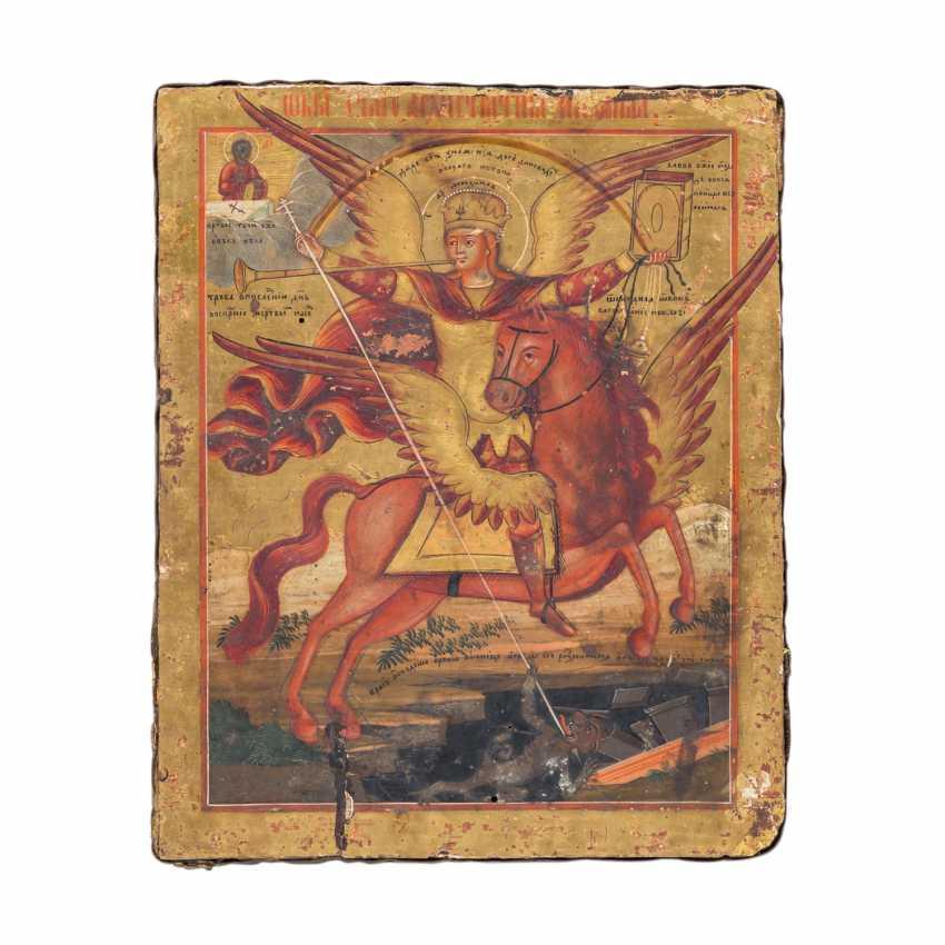 "ICON ""Archangel Michael on horseback triumphs over Lucifer"", Russia 18./19. Century, - photo 1"