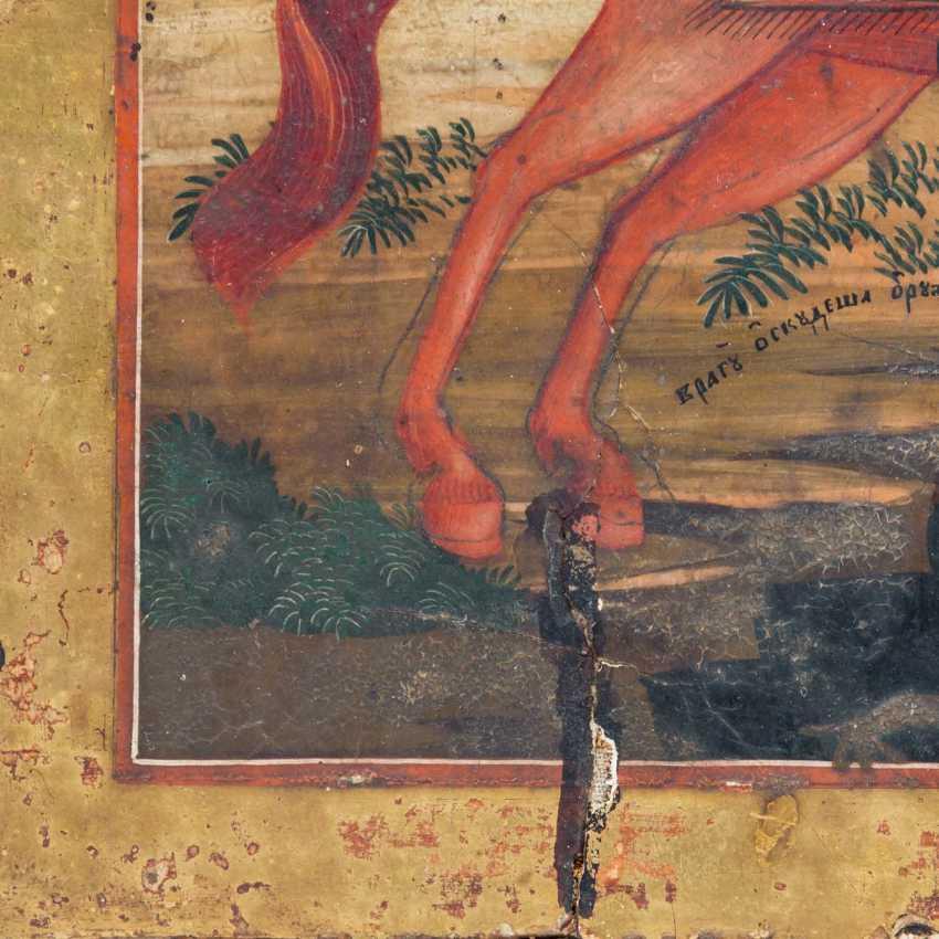 "ICON ""Archangel Michael on horseback triumphs over Lucifer"", Russia 18./19. Century, - photo 2"