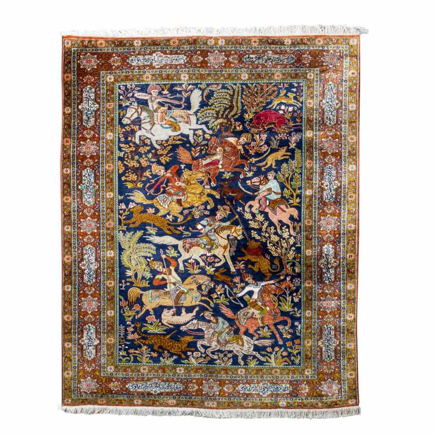 Oriental rug made of silk. 20. Century, approx. 209x138 cm. - photo 1