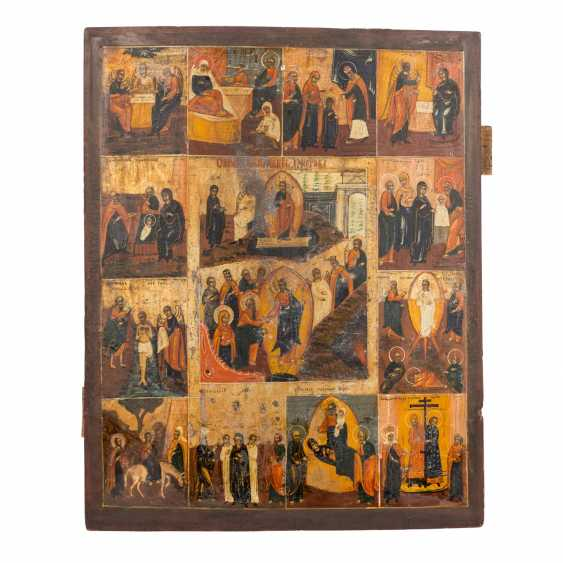 HOLIDAY ICON OF THE RESURRECTION OF CHRIST AND THE TWELVE GREAT FEASTS OF THE ORTHODOX CHURCH YEAR - photo 1