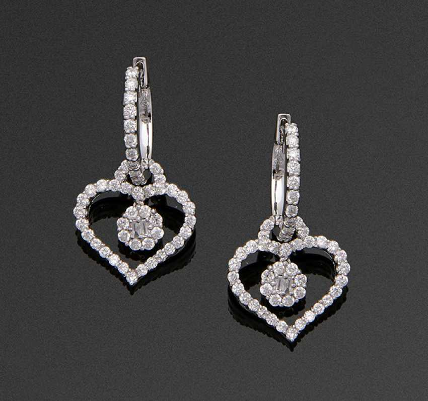 Pair Of Diamond Heart Earrings - photo 1