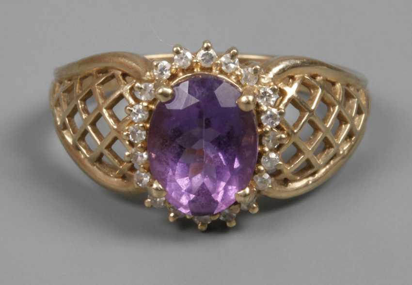 Damenring mit Amethyst und Diamanten - Foto 1