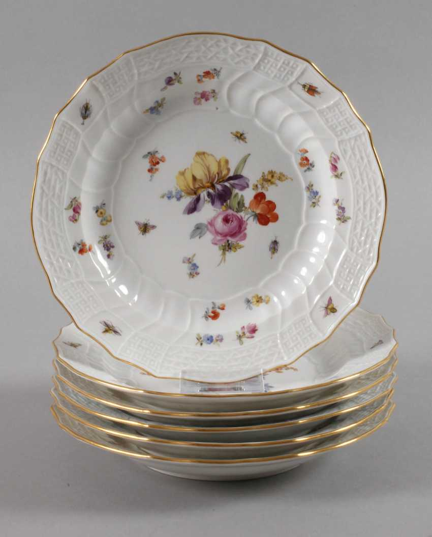 Meissen six assiettes plates avec Insektenmalerei - photo 1