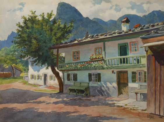 "Otto Kubel, ""Oberammergau street scene, with the Kofel"" - photo 1"