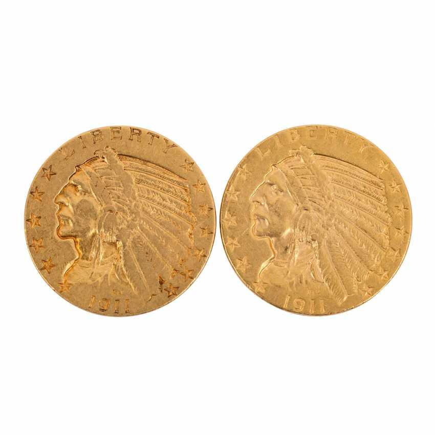 Etats - unis- 2 x 5 Dollars Indien de la Tête 1911 + 1911/s, - photo 1