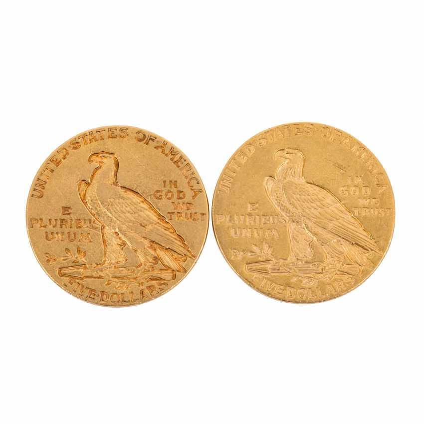 Etats - unis- 2 x 5 Dollars Indien de la Tête 1911 + 1911/s, - photo 2