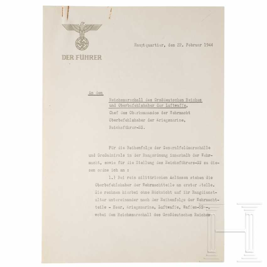 Arrangement of Hitler to the Wehrmacht commander-in-chief, with the determination of the order of the GFM and great admirals from the 22.2.1944 copy of Göring - photo 1