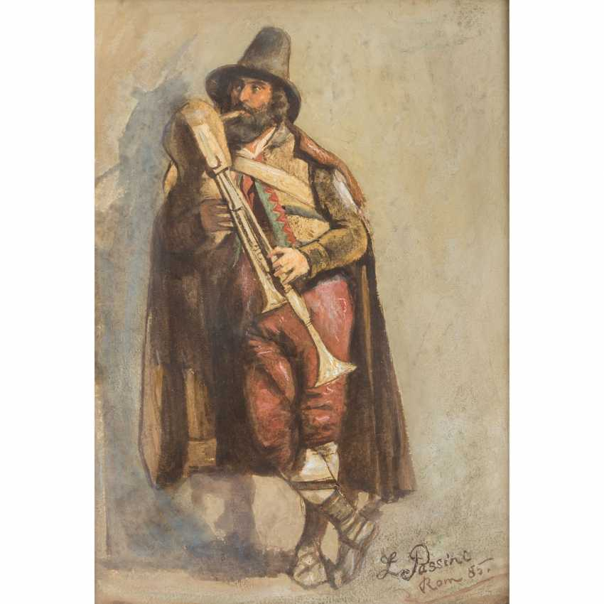 "PASSINI, L., well-Ludwig Johann (1832-1903), ""bagpiper"", - photo 1"