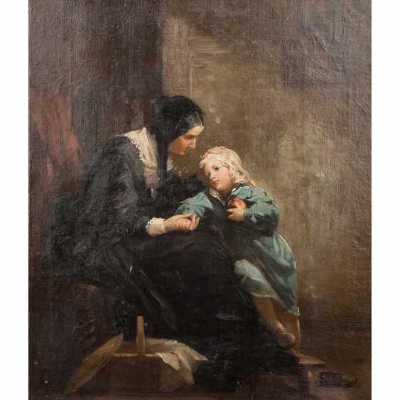 "Hassel Horst, JOHANN HEINRICH (1825-1904), ""mother with child in the room"", - photo 1"