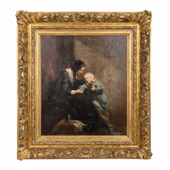 "Hassel Horst, JOHANN HEINRICH (1825-1904), ""mother with child in the room"", - photo 2"