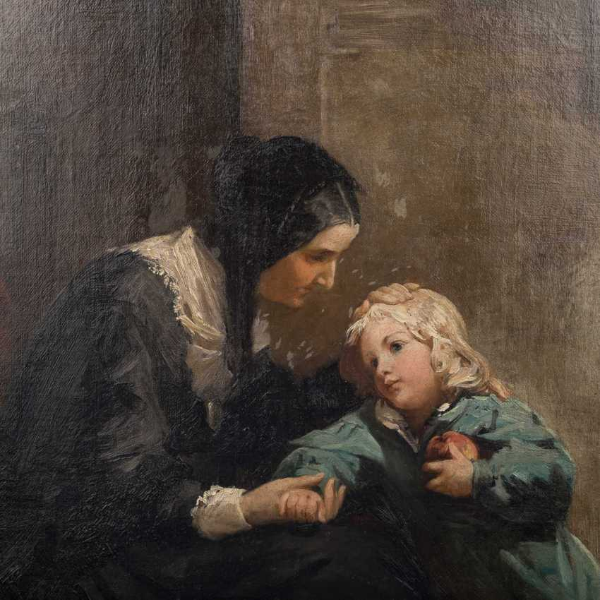"Hassel Horst, JOHANN HEINRICH (1825-1904), ""mother with child in the room"", - photo 3"