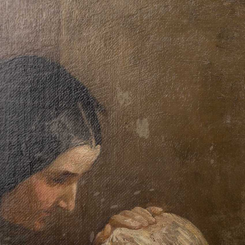 "Hassel Horst, JOHANN HEINRICH (1825-1904), ""mother with child in the room"", - photo 4"