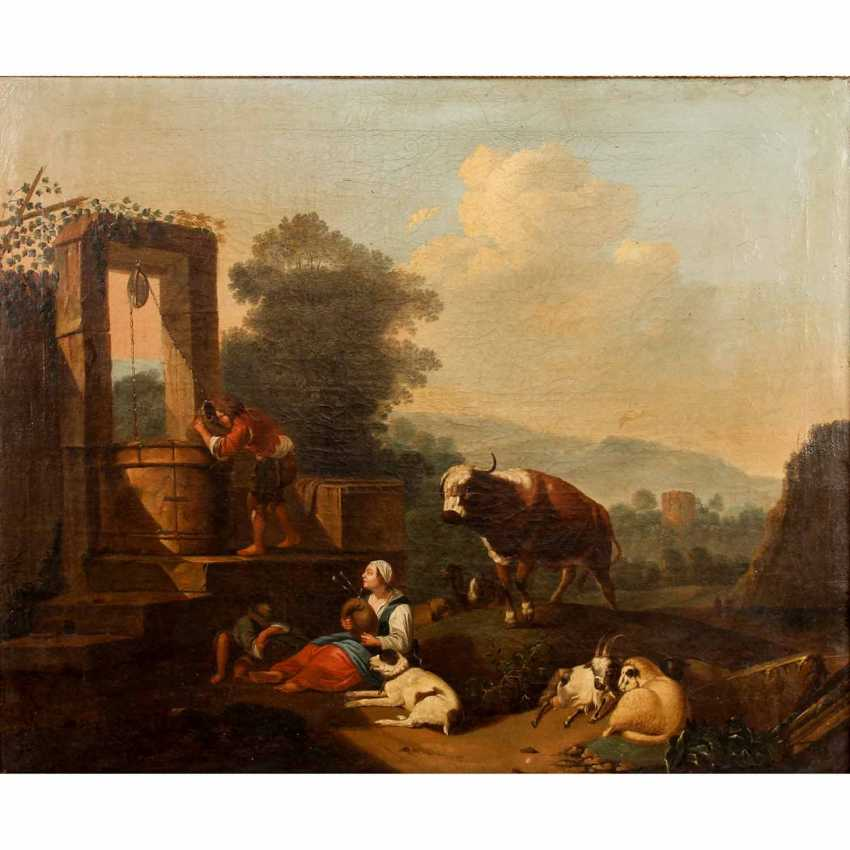 "ROOS, Johann Heinrich, ATTRIBUTED to/the SUCCESSOR (J. H. R.: 1631-1685), ""shepherds idyll"", - photo 1"