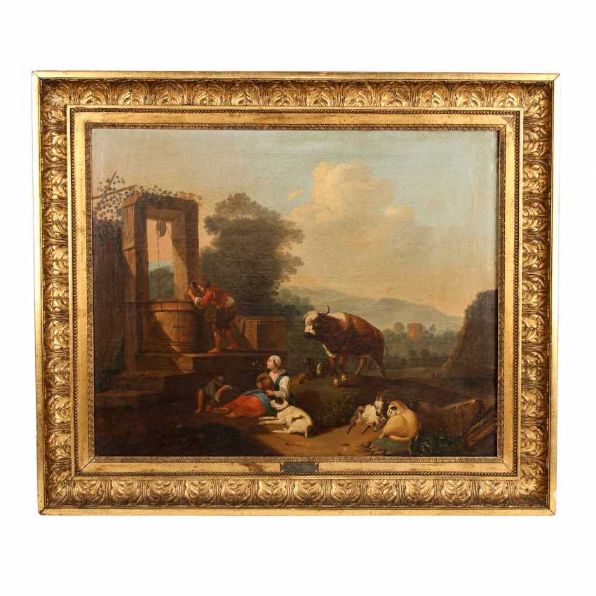 "ROOS, Johann Heinrich, ATTRIBUTED to/the SUCCESSOR (J. H. R.: 1631-1685), ""shepherds idyll"", - photo 2"