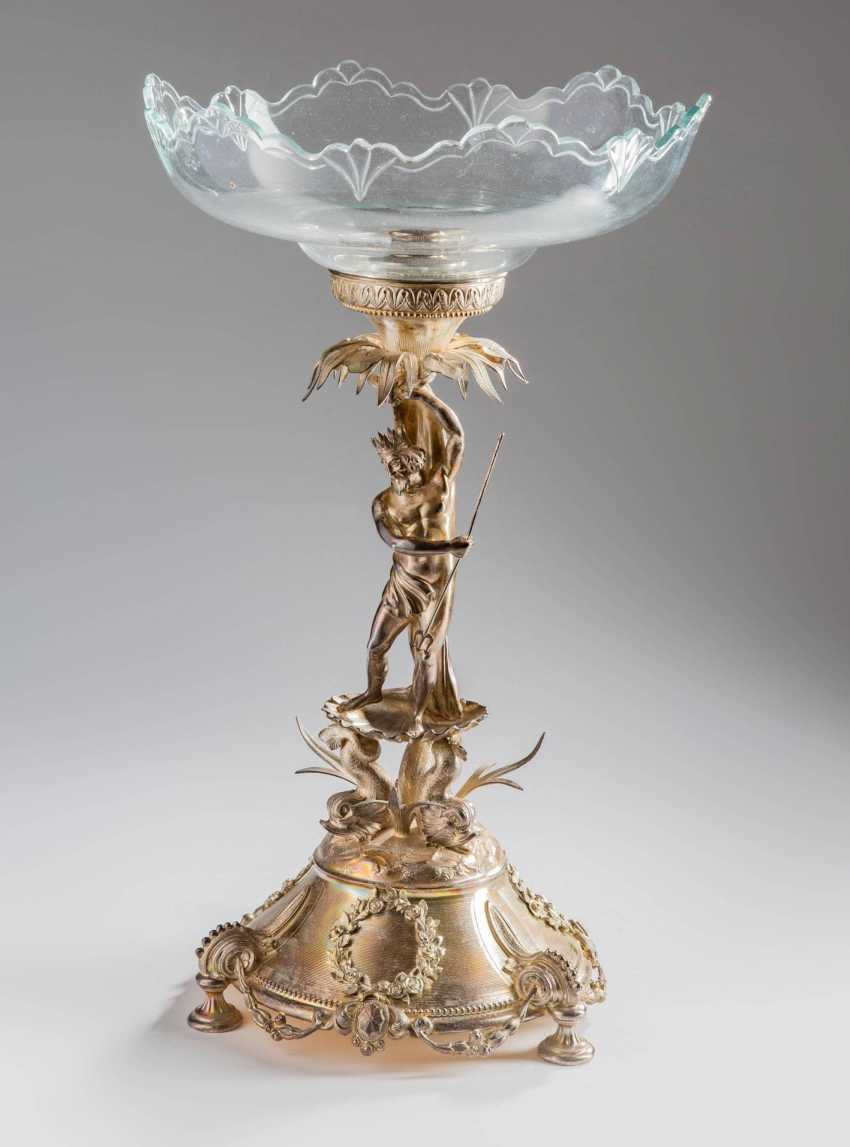 """Silver centrepiece """"Neptune with dolphins"""" - photo 1"""