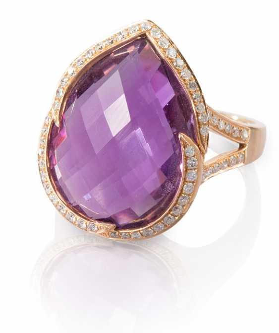 Amethyst and diamond ring - photo 1