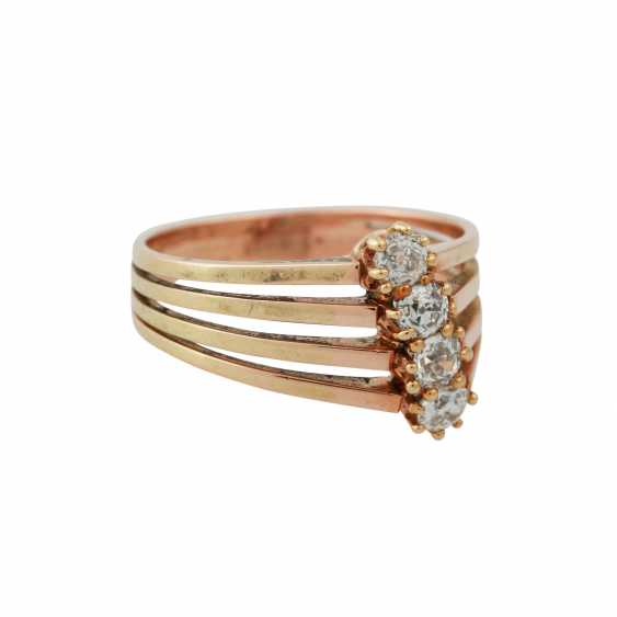 Ring with 4 old European cut diamonds, together approx 0.5 ct, - photo 2