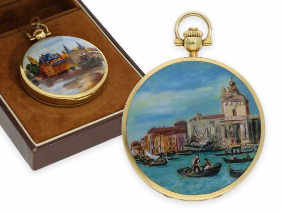 "Pocket watch: extremely rare, mint condition Gold/enamel-Savonnette ""Venezia"", Longines No. 52952854, 70s, with original box! - photo 1"