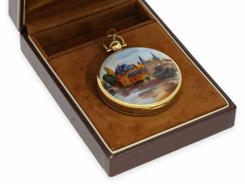 "Pocket watch: extremely rare, mint condition Gold/enamel-Savonnette ""Venezia"", Longines No. 52952854, 70s, with original box! - photo 2"