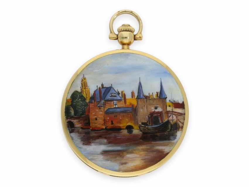 "Pocket watch: extremely rare, mint condition Gold/enamel-Savonnette ""Venezia"", Longines No. 52952854, 70s, with original box! - photo 3"