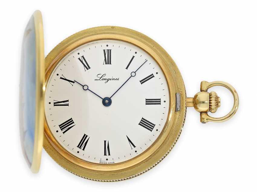 "Pocket watch: extremely rare, mint condition Gold/enamel-Savonnette ""Venezia"", Longines No. 52952854, 70s, with original box! - photo 7"