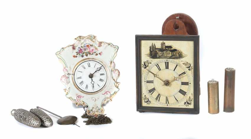 Two wall clocks with wooden Board, probably black forest - photo 1