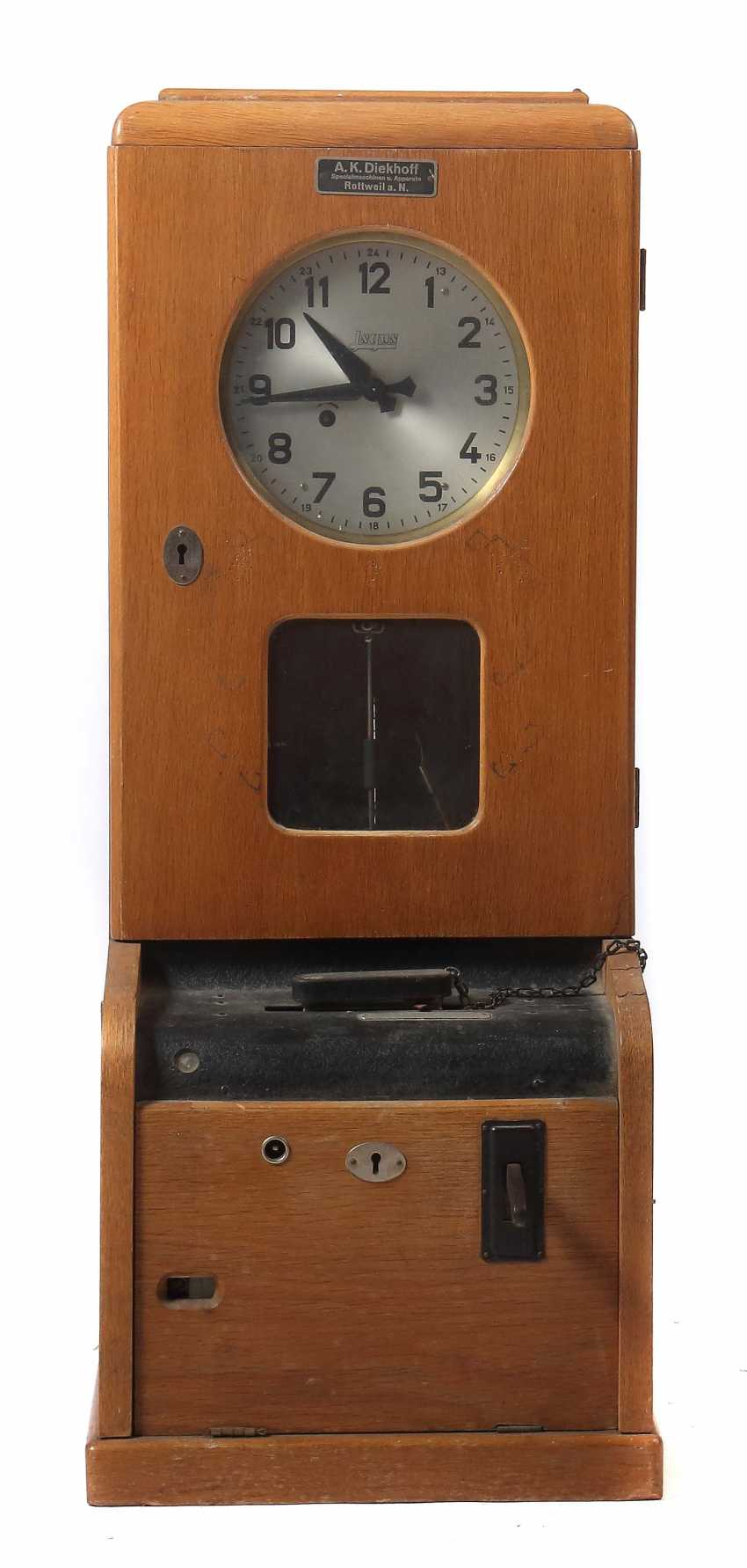 Electric clock with stamp function, probably 1930s - photo 1