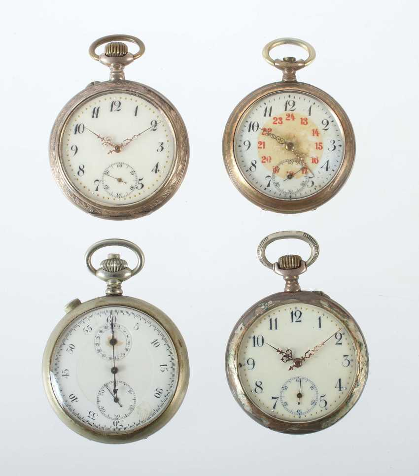 3 gentleman's pocket watches and a stopwatch 19./20. Century - photo 1