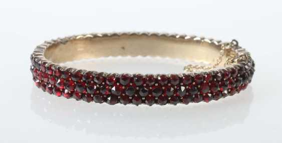 Garnet Bangle Bracelet 1. Half of the 20. Century - photo 1
