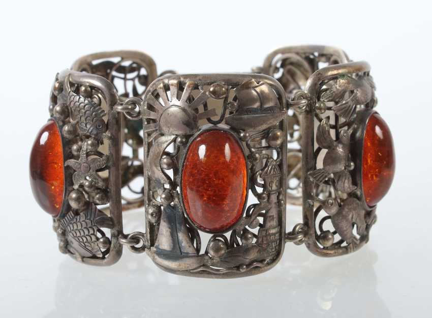 Silver-Amber Bracelet Fish Country - photo 1
