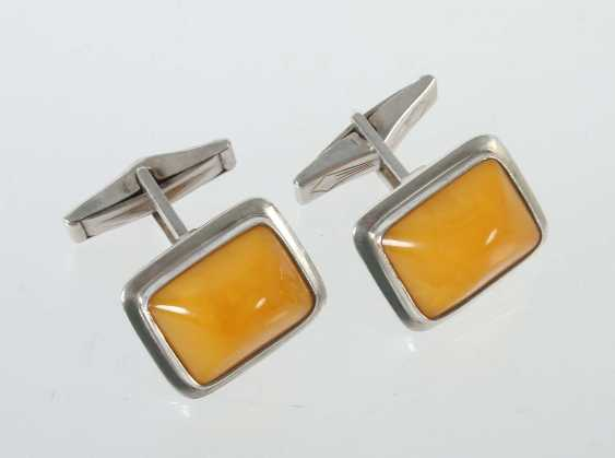 Cufflinks with amber cabochons 1970/80s - photo 1