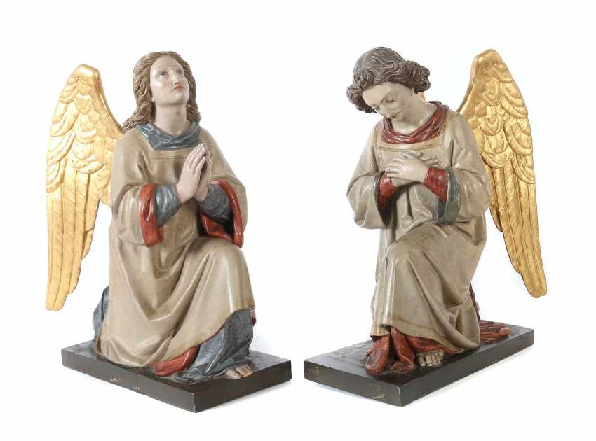 """Carver of the 19th century./20. Century """"Pair of angels as adorants"""" - photo 1"""