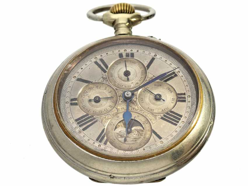 Pocket watch: rare, large, astronomic pocket watch with full calendar and moon phase, Switzerland, around 1885 - photo 1