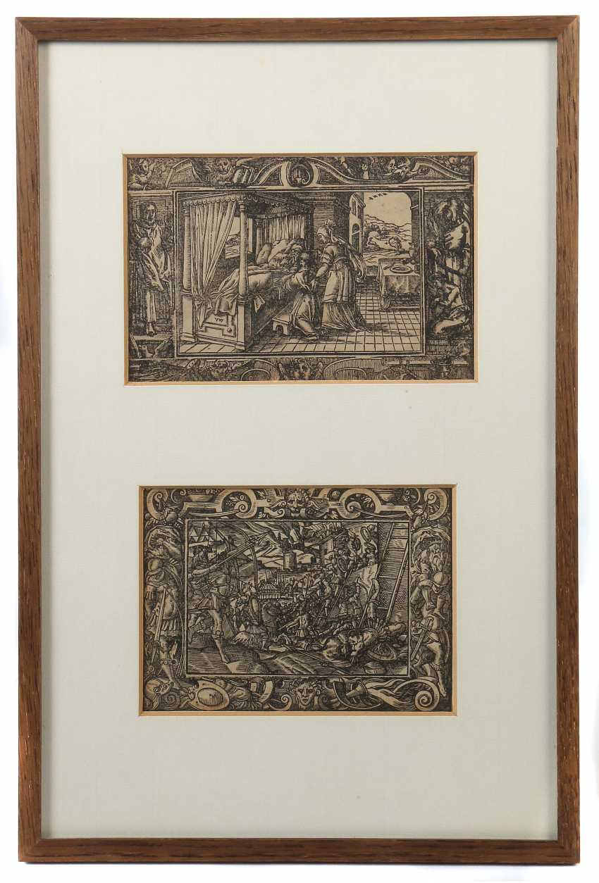 """Graphic designer of 16./17. Century two antique scenes: 1x """"battle of Troy"""" and """"Isaac blessing Jacob"""" - photo 1"""
