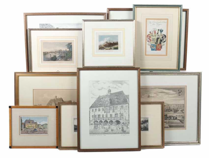Collection of 11 graphics representations of the city of Heilbronn, or important places and buildings in the city by Robert Friedrich Stieler - photo 1