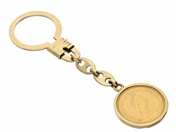 Key chain: high-quality and luxurious key pendants with gold coin Sovereign Elizabeth II 1976 - photo 1