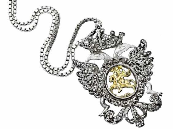 Chain/pendant: exceptional antique jewelry, pendant 19. Century, Silver/Gold - photo 1