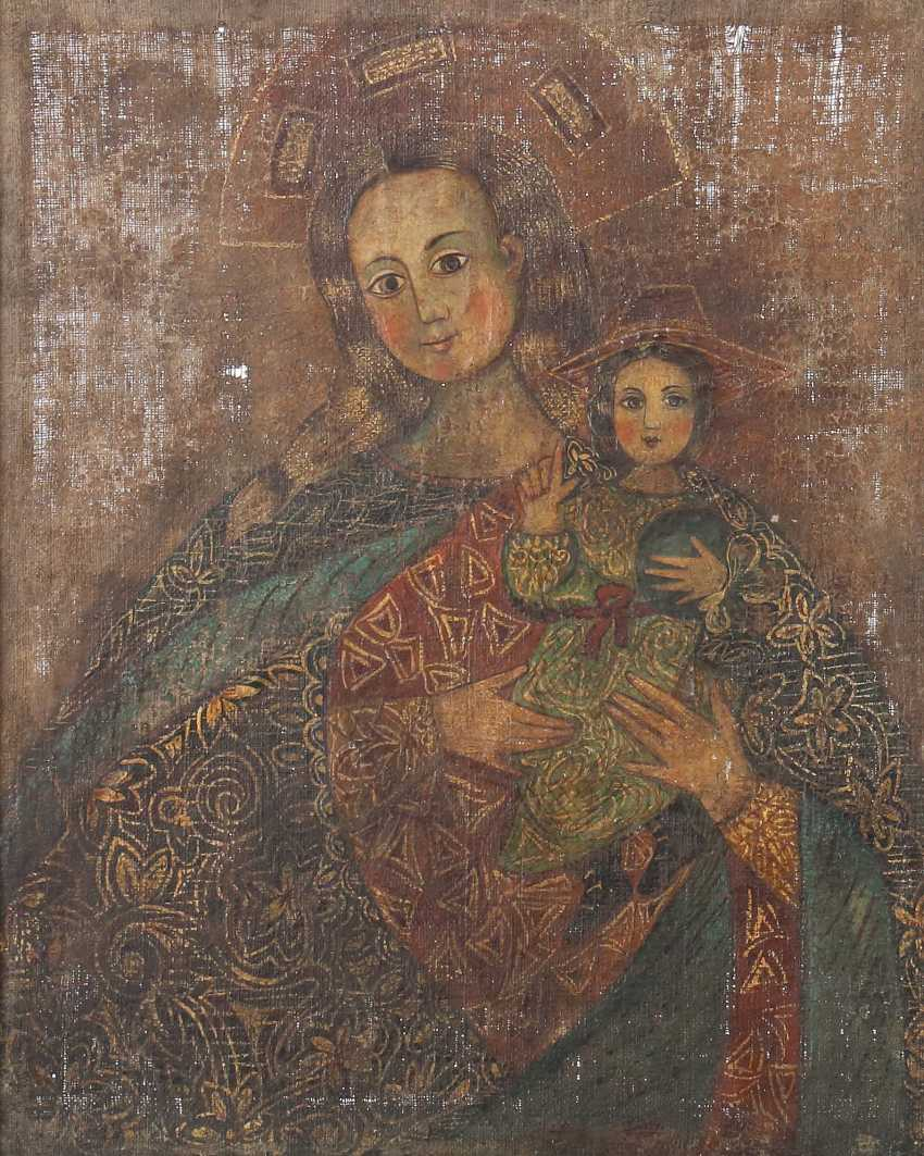"Painter of the 15th century./16. Century (?) probably Spain. ""Maria with child"" - photo 1"