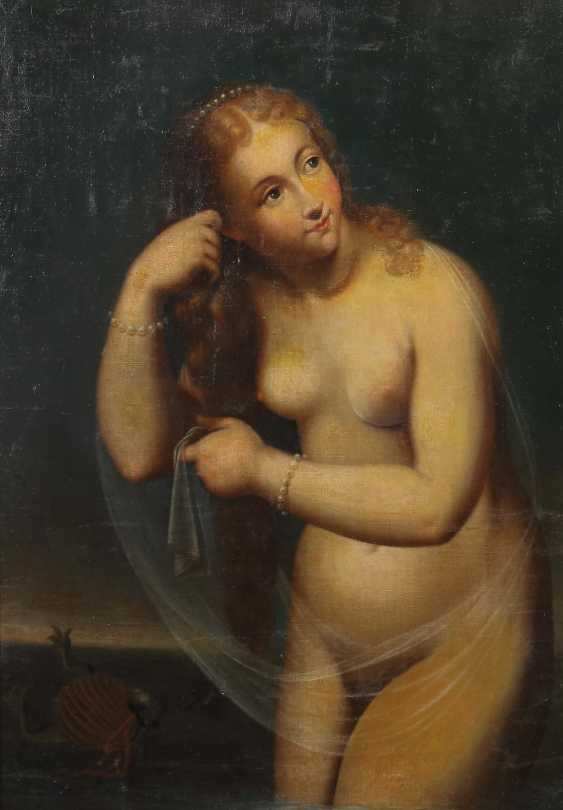 """Painter of the 17th century. Century (probably) """"Damenakt with pearl necklaces"""" - photo 1"""
