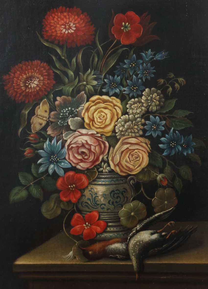 """Silent painter of the 18th century life. Century """"floral still cattle, life with Feather"""" - photo 1"""