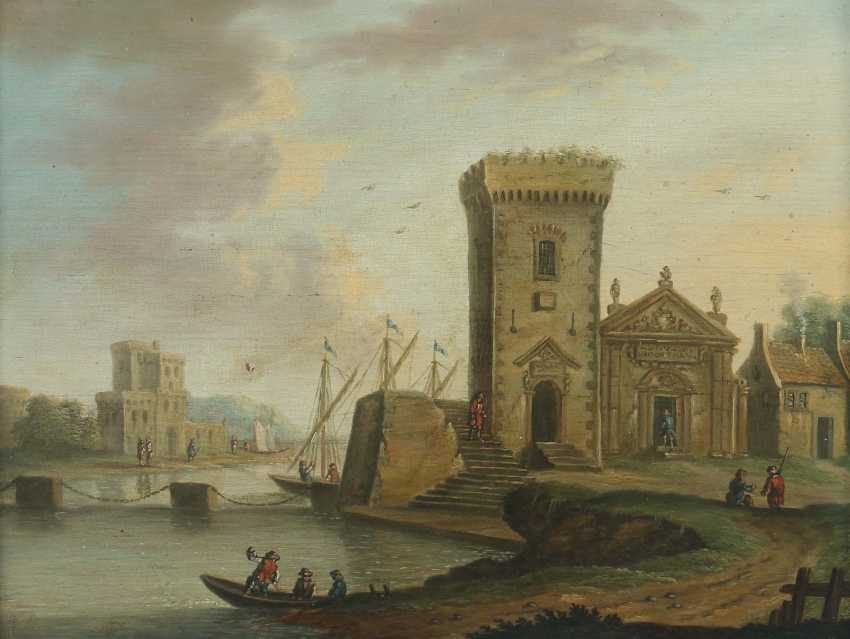 """Landscape painter of the 19th century. Century """"shore lot with the tower"""" - photo 1"""