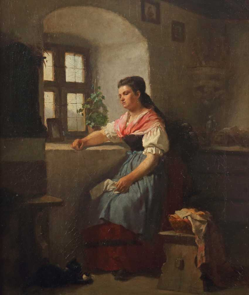 """Painter of the 19th century. Century, """"Young woman at a window"""" - photo 1"""