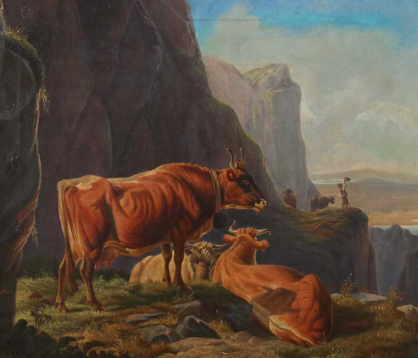 """Painter of the 19th century. Century, """"cows in the mountains"""" - photo 1"""