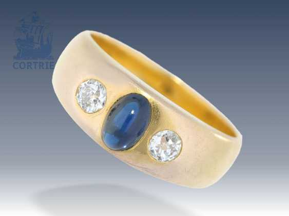 Ring: art Nouveau style band ring is high quality, the Russian brand, sapphire and diamonds - photo 1