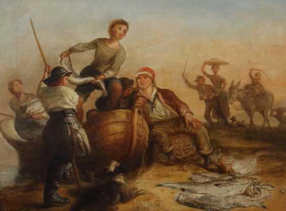 """Painter of the 19th century. Century - """"Fishing Scene"""" - photo 1"""