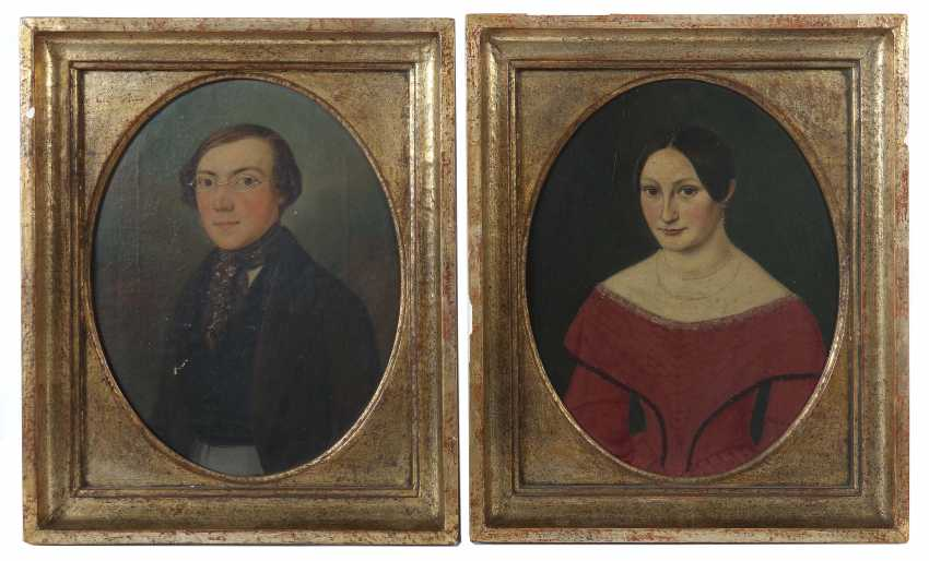 "Portrait painters of the 19th century. Century ""Pair Of Biedermeier Portraits"" - photo 1"