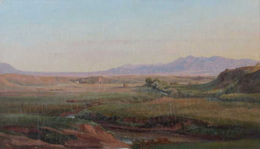 """Landscape painter of the 19th century. Century, """"mountain landscape with river"""" - photo 1"""