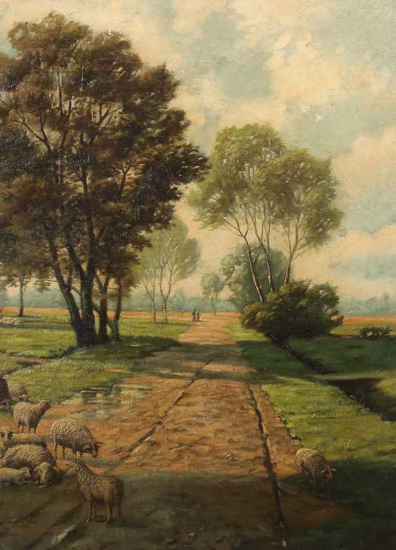 """Painter of the 19th century./20. Century """"flock of sheep"""" in the foreground on a path - photo 1"""