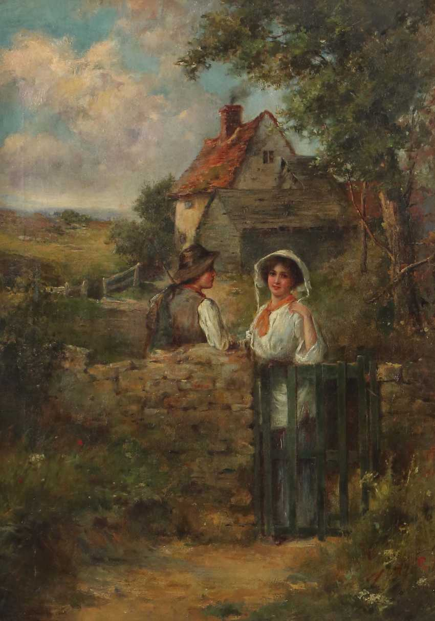 """Painter of the 19th century./20. Century """"peasant couple in front of farmer Kate"""" - photo 1"""